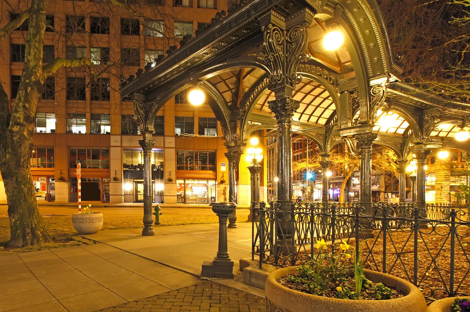 Pioneer square in Seattle at early night.