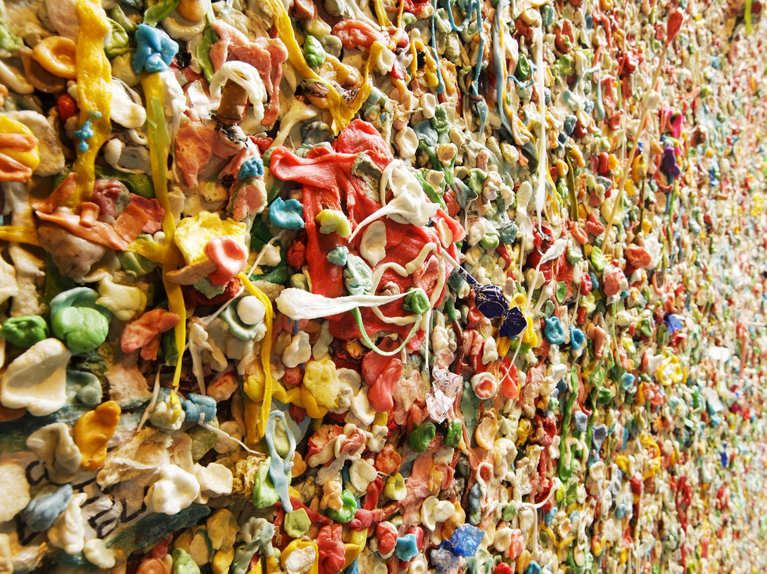The famous bubble gum wall in Post Alley near the Pike Place Market in Seattle.