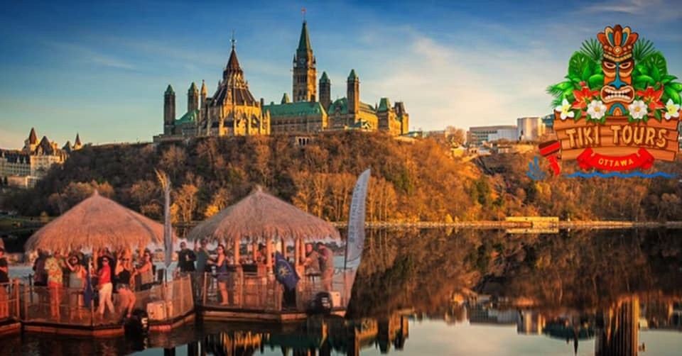 A picture postcard of families vacationing in Ottawa enjoying tiki boats on the Ottawa River