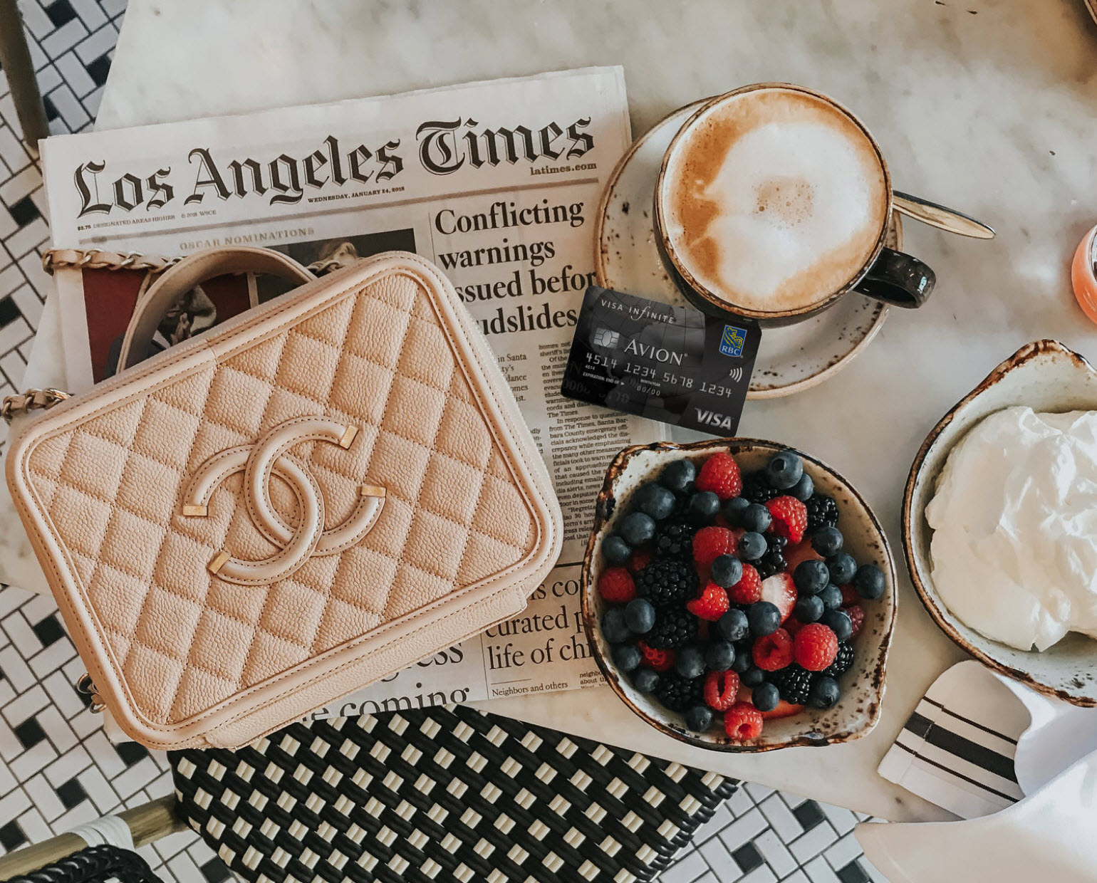 A bird's eye view of breakfast and a coffee on the table with an Avion credit card, LA Times Newspaper and purse.