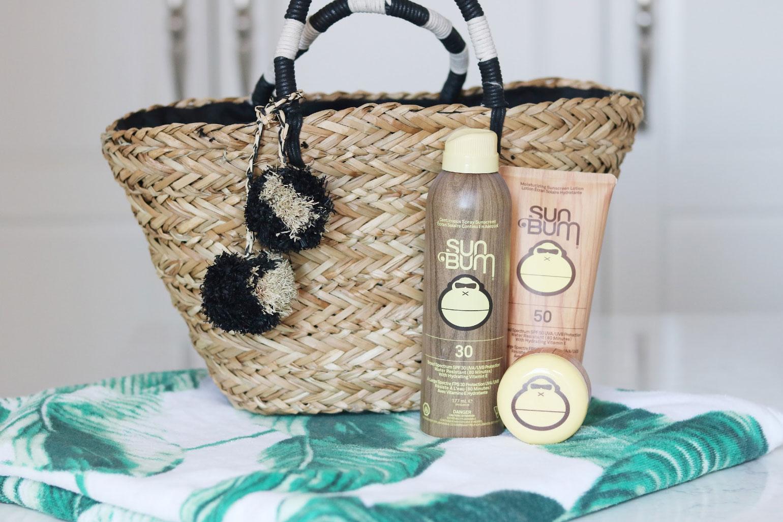 A beach bag with sunscreen