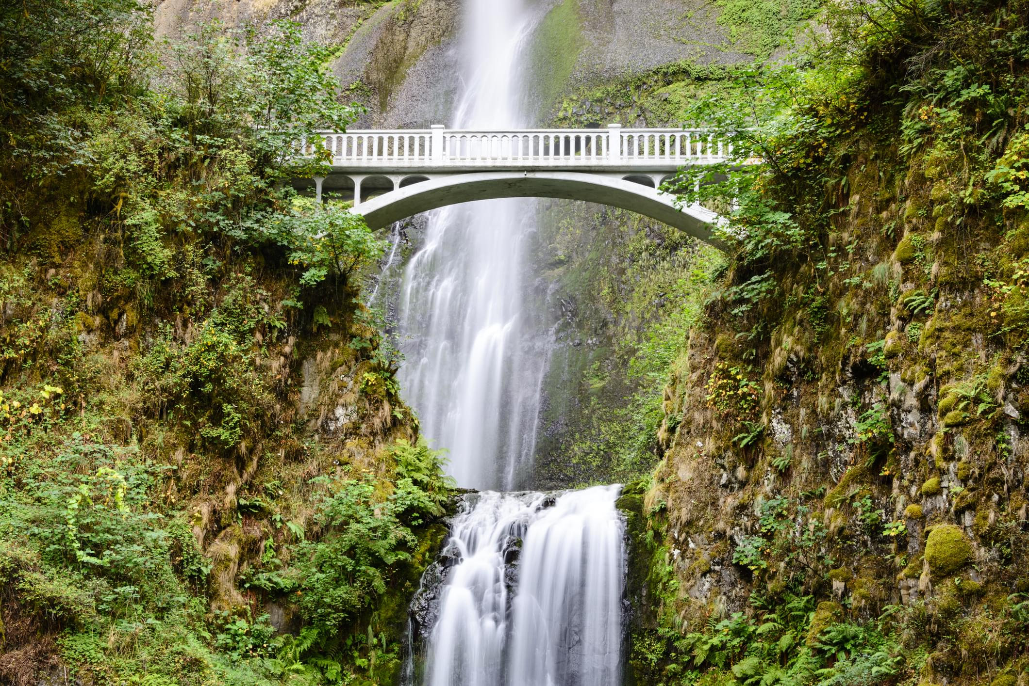 Multnomah Falls viewed from the Columbia River Highway
