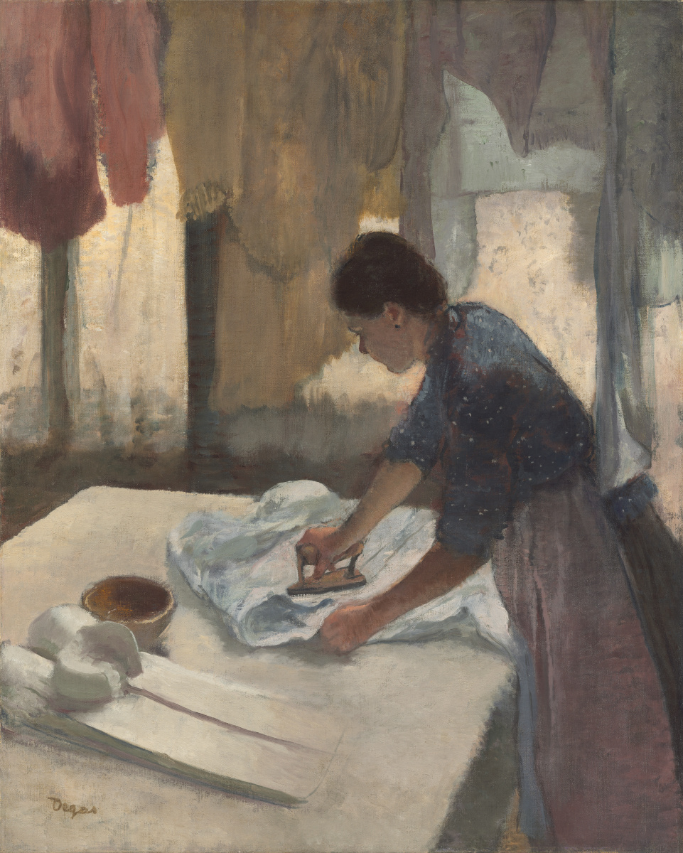 "Edgar Degas' ""Woman Ironing"" oil painting showing a domestic worker pressing formal shirts with an iron while drying laundry hangs above her."