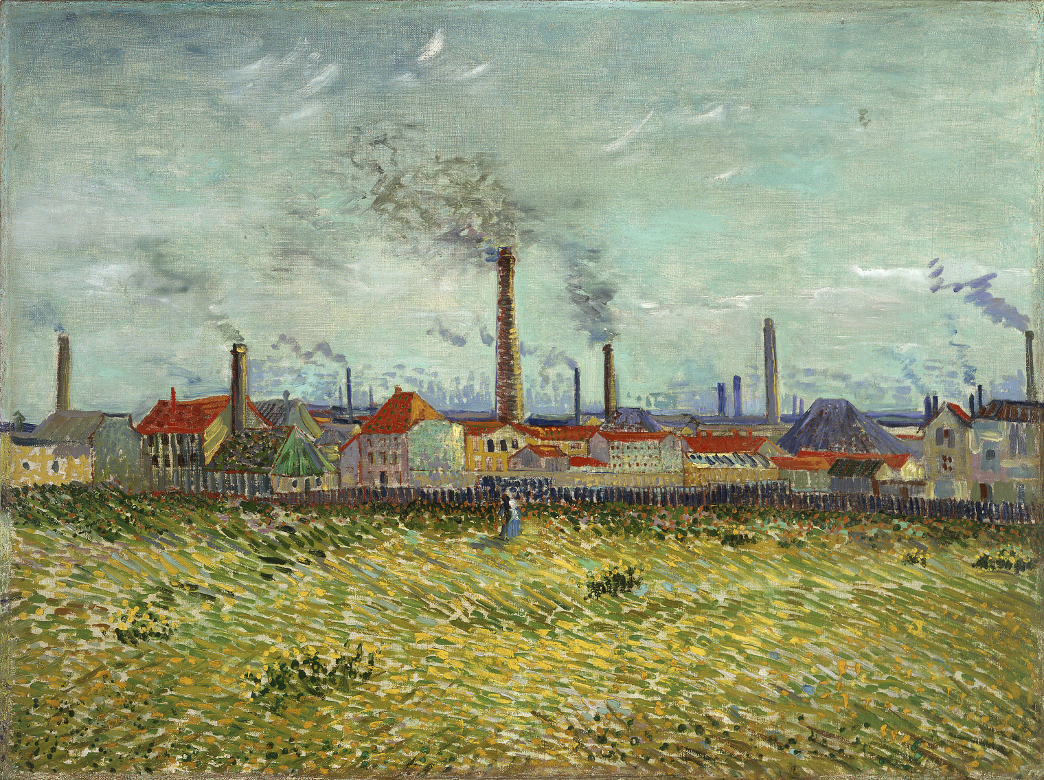 "Vincent van Gogh's ""Factories at Clichy"" oil painting from 1887 showing a couple in a field overlooking several factories behind a fence."
