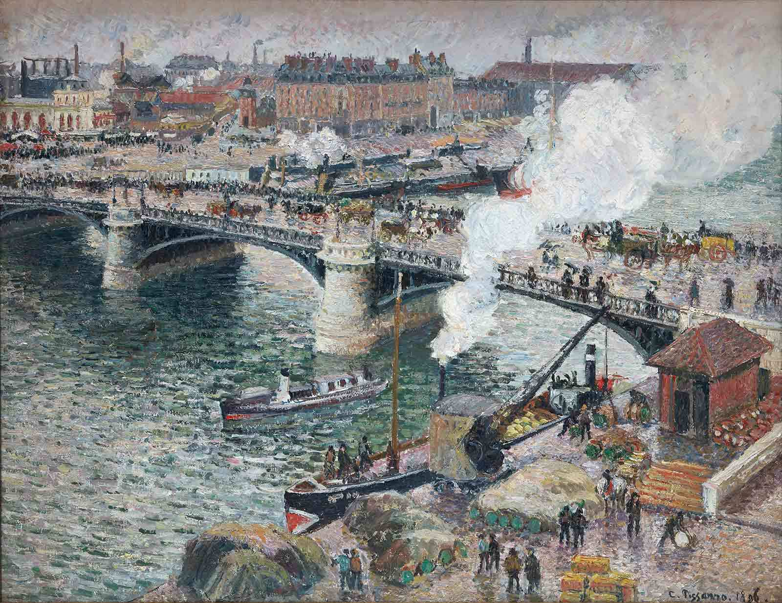 """Camille Pissarro's 1896 oil painting, """"Le pont Boieldieu à Rouen, temps mouillé"""" depicting an urban scene of a busy bridge with pedestrians and carriages, waterways with steam ships being loaded, and factories in the background."""
