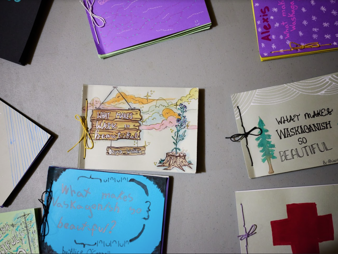 Booklets and art derived from the Miyupimaatisiiun theme for the program launched by the Cree School Board.