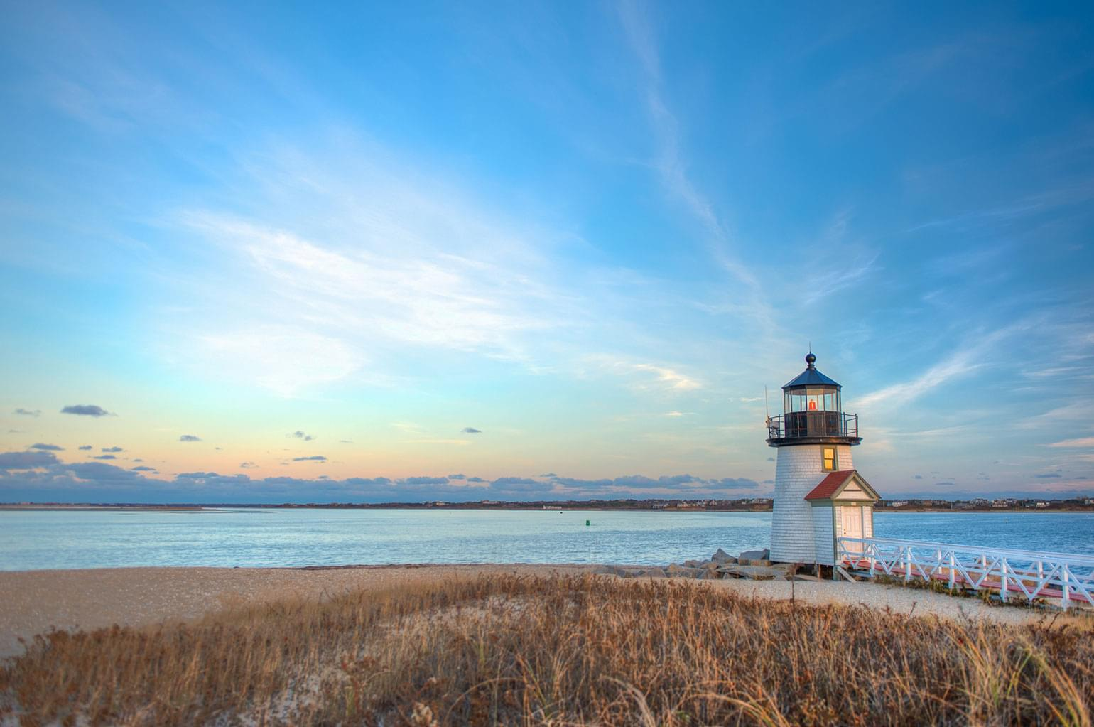 A traditional light house on the beach at Cape Cod, Massachusetts.