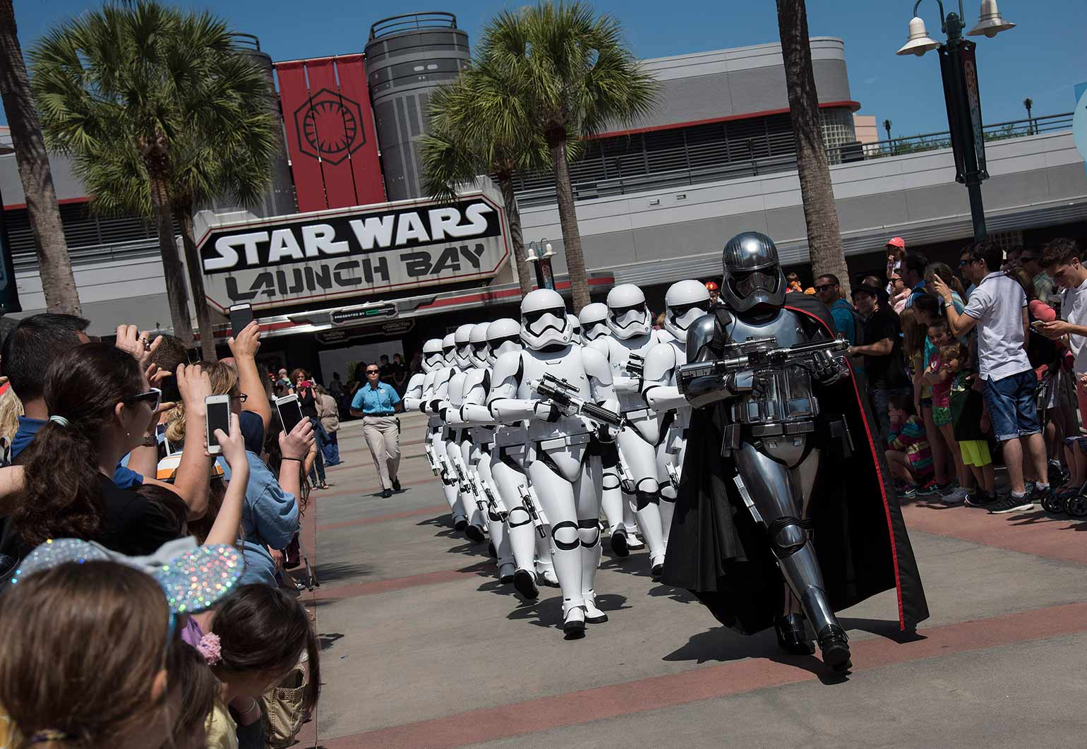 Star Wars' Captain Phasma leads stormtroopers at Disney's Hollywood Studios.