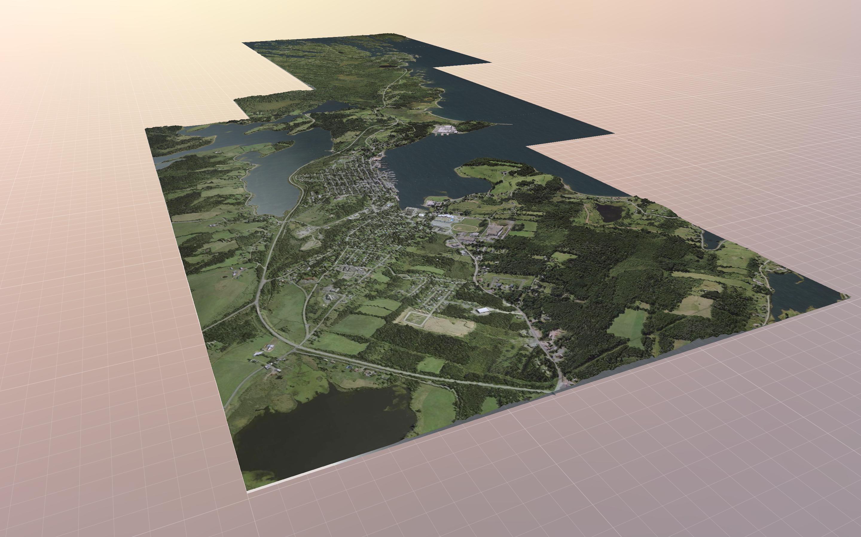 A 3D aerial image of Lunenburg, Nova Scotia.