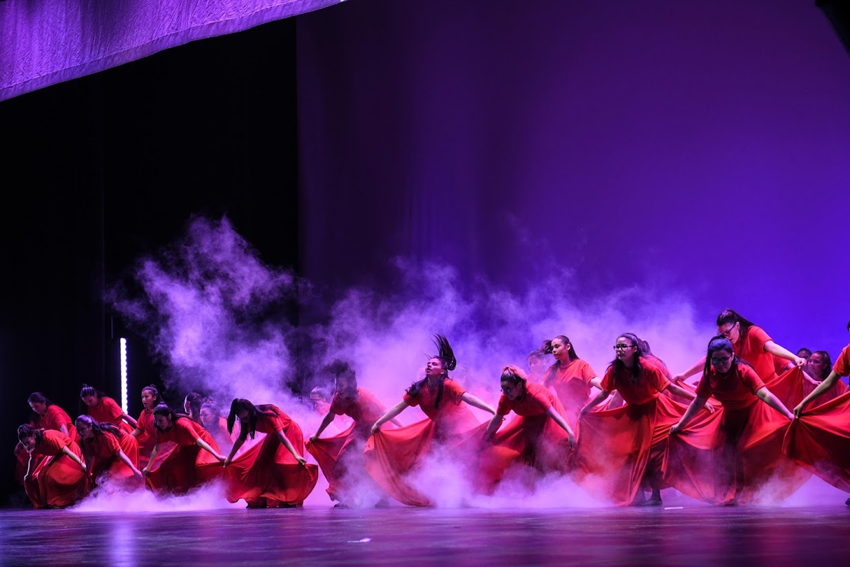 A line of young female dancers in red dresses perform on a purple stage with fog.