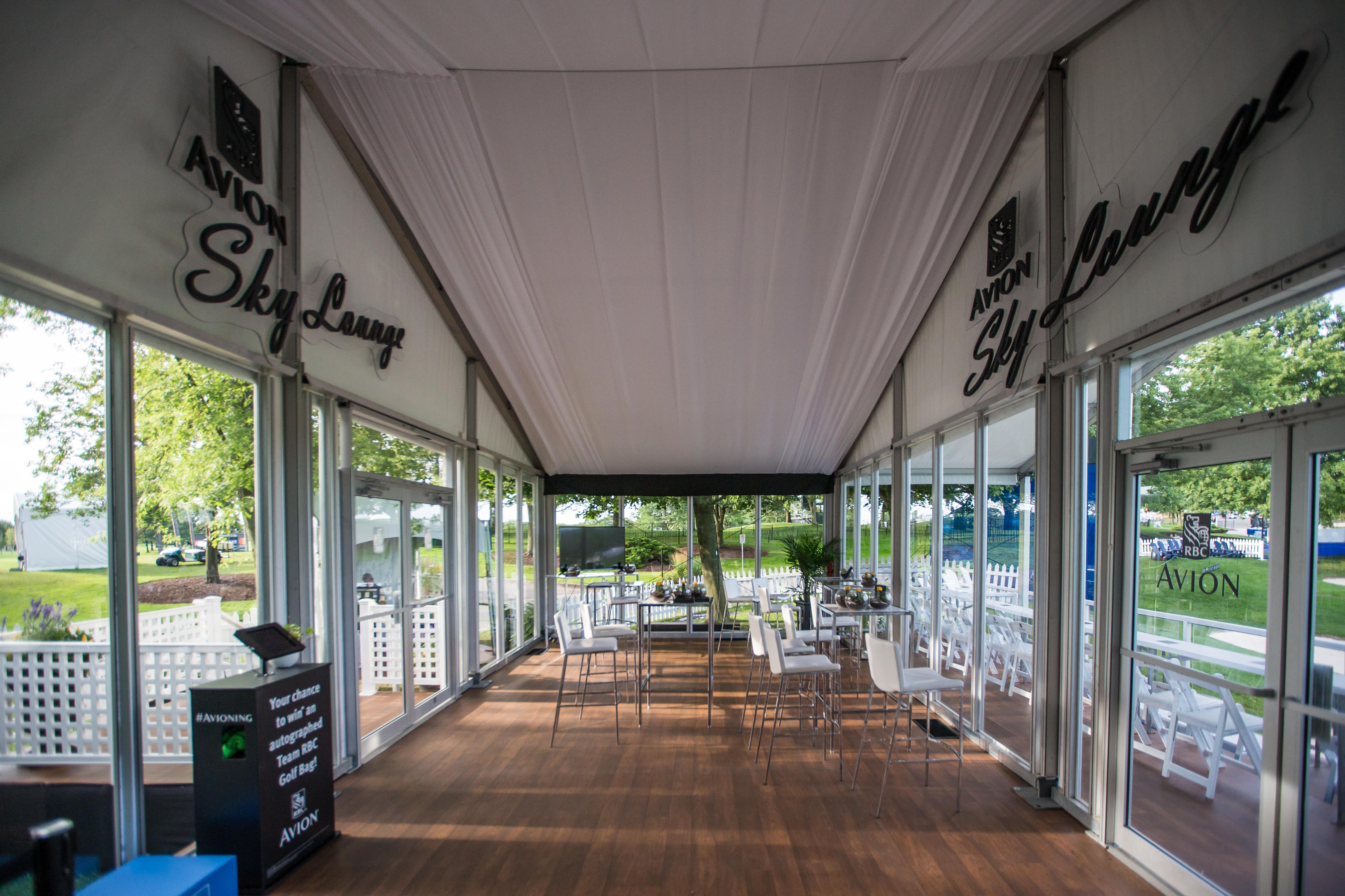 Interior of the exclusive RBC Avion Sky Lounge on the 16th green during the 2017 RBC Canadian Open.