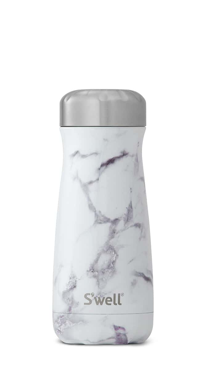 S'well traveler mug in white marble