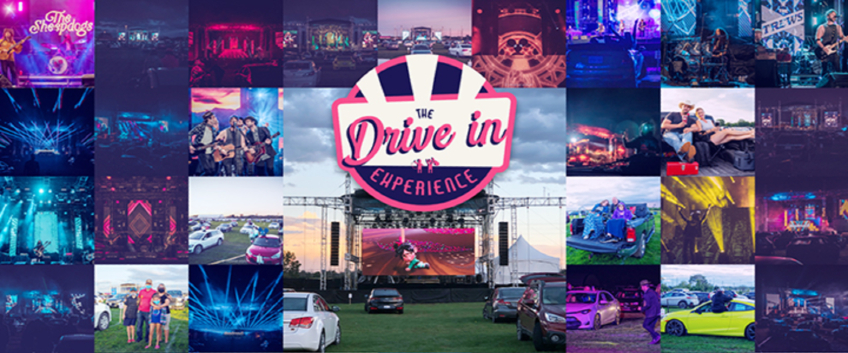 A collage of drive-in movies scenes at the RBC Festival Field at Wesley Clover Parks, Ottawa