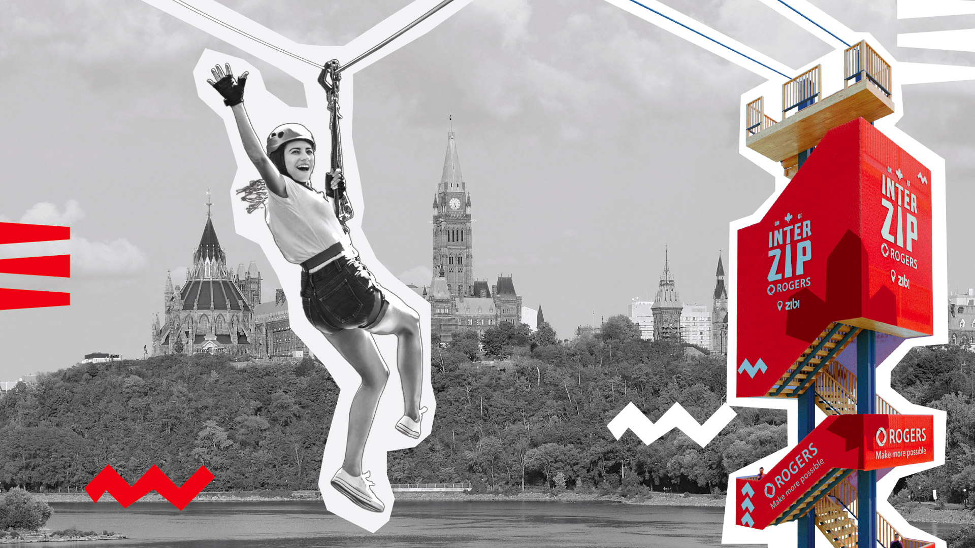 A black and white collage of a woman on a zipline, crossing the Ottawa River from Quebec to Ontario