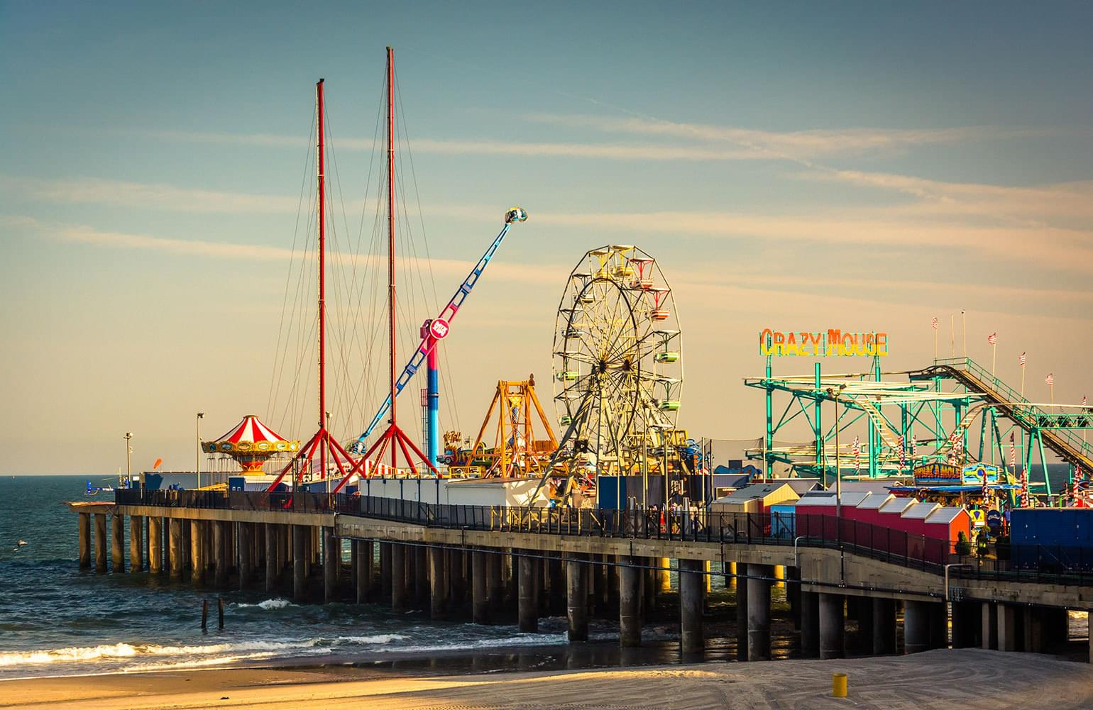 The Ferris wheel and other family rides on Atlantic City's Steel Pier.
